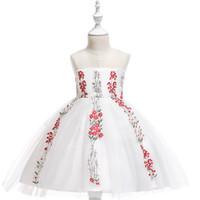 şık beyaz bebek elbiseleri toptan satış-MQATZ Bebek Kız Nakış Çiçek Güzel Prenses Kız Doğum Günü Beyaz Elbise Zarif Kızlar Akşam Parti Gelinlik Zarif