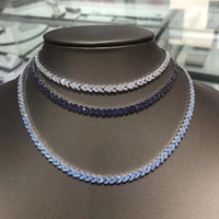 Wholesale argent necklace resale online - Europe Elegant fashion style sterling silver party jewelry cubic Zircon necklaces Blue white bijoux en argent for women
