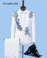 ingrosso vestito blu vestito grigio uomini-Gwenhwyfar nuovissimo Blu Grigio Appliques Mens smoking Singer White Party del vestito 2018 uomini cerimonia nuziale dello sposo del vestito giacca sportiva Hombre Slim Fit