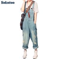 süngerimsi kot pantolon toptan satış-Sokotoo kadın Casual Gevşek Denim Tulum bayan Boy Delik Yırtık Kot Yırtık Kot Geniş Bacak Pantolon Kadın Için Y19071701