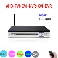 dvr hybrid onvif оптовых-Видеорегистратор 8CH / 4CH 1080P Видеонаблюдение 6 в 1 Гибридный Wi-Fi Onvif NVR TVI CVI AHD DVR Серебряная панель Hi3521A XMeye