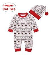 ingrosso indumenti da notte invernali-Newborn Christmas Romper Cap Set per 0-18M Baby Girl Boy Autunno Inverno tute infantile manica lunga tuta Sleepwear