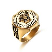 homens usando anéis venda por atacado-Mito antigo hip hop designer anéis para as mulheres homens novo Aço Inoxidável rua desgaste anéis maré partido noite rock punk anéis homens