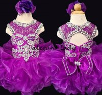 Wholesale infant birthday party dresses for sale - Sparkly Crystal Purple Girls Pageant Dresses Toddle Infant Ruffles Little Princess Kids Birthday Party Communion Gowns