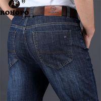 jeans coreano venda por atacado-Primavera Mens Marca Denim Jeans Designer Coreano Em Linha Reta Ocasional Negócio Masculino Denim Bottoms Spandex Elasticidade Solta Pant