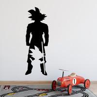 decalques de quarto de anime venda por atacado-Anime adesivo de parede crianças quarto mural manga goku silhueta decalque para adolescente dormitório decoração do quarto