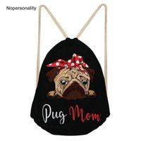 Wholesale unique school bags resale online - Nopersonality Black Puppy Pug Dog Print Women Drawstring Bags Cute Small Kids Girls School Backpack Unique Travel Beach Rucksack