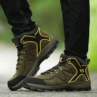 las mejores marcas de zapatos de mujer de senderismo al por mayor-Baideng High Top Zapatos de senderismo Hombres Mujeres Zapatillas de deporte unisex Botas de montaña de calidad de marca Zapatillas de deporte de escalada profesional 36-44