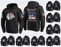 schwarzes flaggen-sweatshirt großhandel-Benutzerdefinierte Herren Chicago Blackhawks USA Flagge schwarz Hoodie Trikots 12 Alex DeBrincat 15 Artem Anisimov 84 Fortin Hockey Hoodies Sweatshirts