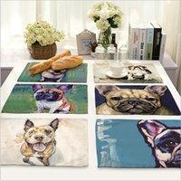 moderne malerei bambus großhandel-Gemalte Hund Tischset Home Decor Leinen Tischset Geschirr Untersetzer Für Küchenzubehör Hochzeit Dekoration