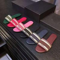 sandales d'été achat en gros de-2019 nouvelles sandales bleu blanc rayures sandales Denim plat Slipprs chaussures dames d'été en plein air plage causal Flip Flops véritable boîte à semelle en cuir