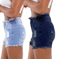 yüksek belli seksi kot pantolon toptan satış-20SS Kadınlar Jeans Moda Seksi Püskül Fermuar Fly High Waisted Jean Şort Casual Kadınlar Ripped Jeans