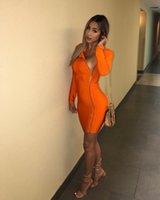 vestido largo naranja de verano al por mayor-Diseñador de verano para mujer Vestidos de bodyon naranja Manga larga Estilo de club nocturno Ropa femenina sexy Ropa casual de moda