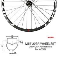 juego de ruedas 29er al por mayor-OEM MTB 29er juego de ruedas juego de ruedas de bicicletas de montaña de 27 mm de anchura XC Carbon ruedas hookless ruedas mtb con Novatec juego de ruedas 29er de ruedas de carretera