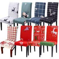 capas de assento de natal venda por atacado-Chair Covers 38styles removível Cadeira Coberta estiramento assento de jantar Covers Elastic Slipcover Natal Banquete de Casamento Decor Xmas LJJA3378-2