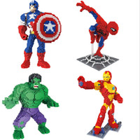 Wholesale black spiderman toys for sale - Group buy HS big hammer thor nano blocks strong Iron man spiderman Hulk model figures plastic diamond black panther blocks super hero bricks toys