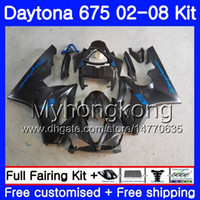 cuerpo negro plano al por mayor-Body For Triumph Daytona 675 Flat negro 2002 2003 2004 2005 2007 2007 2007 322HM.35 Daytona 675 Daytona675 02 03 04 05 06 07 08 Kit Carenado
