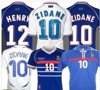 Wholesale best quality thailand soccer jersey for sale - Group buy best quality ZIDANE FRANCE RETRO VINTAGE ZIDANE HENRY MAILLOT DE FOOT Thailand Quality soccer jerseys uniforms Football Jerseys
