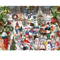 Wholesale diamond painting christmas resale online - Full Square Round Drill D DIY Diamond Painting quot Christmas snowman quot D Full Embroidery Cross Stitch Mosaic Home Decor