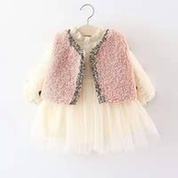 Wholesale small suit girl for sale - Group buy 2019 retail kids designer clothes girls autumn and winter long sleeve tutu dress and vest suits clolors cm medium and small girls ki
