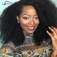Wholesale 1b afro human hair wigs resale online - Afro Kinky Curly Wig Peruvian Lace Front Human Hair Wigs For Black Women Pre Plucked Natural B Lemoda Density x4 Remy Wig