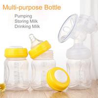 biberones de leche materna al por mayor-3 Unidades / Juego 180mlpp BPA-Free Safety Seal Amarillo Botella de almacenamiento de leche para bebés de leche de calibre ancho PP de amplio calibre