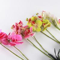 orquídea decoración falsa flor al por mayor-Flores artificiales Real Touch Orquídea Decoración de banquete de boda Ramas pequeñas con hojas Látex Orquídeas Flores falsas para el hogar