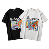 pintando animal selvagem venda por atacado-Camisas de T para homens pintura a óleo cavalo impressão de manga curta nova T-shirt em torno do pescoço moda selvagem clássico