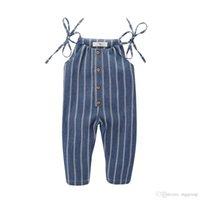 body bio achat en gros de-Petites filles sans manches salopette barboteuses bleu blanc rayures bouton avant enfants filles Bodys Organic Lin Cotton Cotton Child Outfits 0-4T