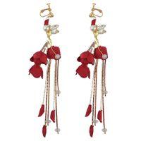 ingrosso perle faux rosse-Orecchini fiore rosso Orecchini nappa cristallo Orecchini pendenti perla finta per sposa Wendding