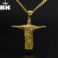 statues croisées achat en gros de-Hip Hop Rédempteur Jésus Croix Pendentif En Acier Inoxydable Statue de Jésus Christ à Rio de Janeiro Brésil Cristo Redentor Chaîne Libre