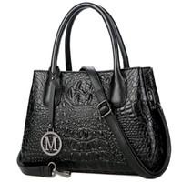 bolsa de couro real de mulher grande venda por atacado-Bolsas de Couro genuíno para As Mulheres Grande Designer Senhoras Bolsa de Ombro Estilo Balde de Couro Real Bolsas De Grão De Crocodilo
