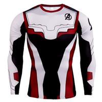 yeni marvel tişörtler toptan satış-Yeni Tasarımcı Avengers Sıkıştırma Uzun Kollu Erkekler Koşu Gömlek Yaz Erkeklerde Spor T Gömlek Marvel Süper Kahramanlar Rashguard Erkek Crossfit