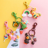 Wholesale trinket toys resale online - Cute D Dressing Yellow Duck Keychain Duckling Key Chain Children s Bag Pendant Figure Toys Keyring Best Birthday Gift Trinkets