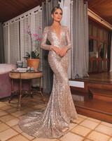 Wholesale hot dress wear for sale - Group buy Hot Sale Gold Evening Dress Long Shinny New Open Neck Women Elegant Straps Sequin Mermaid Maxi Prom Party Gown Dress abendkleider