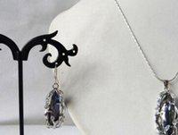 ingrosso perle d'acqua dolce nere barocco-collana di orecchini dell'orecchino di perla d'acqua dolce Biwa del barocco nero di gioiello di 8mm x 20mm