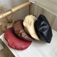 Wholesale artist painters resale online - Black Pu Leather Painter Cap Ladies Berets Hat Solid Color Artist Flat Caps Y200102