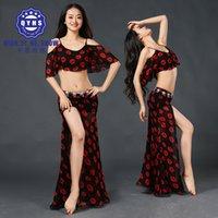 ingrosso fiore zebra-Le nuove donne 2018 delle donne stampano i costumi di danza del ventre 2Pics Top Long skirt dress