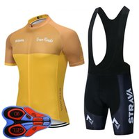 Wholesale bike jerseys resale online - New Team STRAVA Cycling jersey bib Shorts set pro men summer quick dry Racing clothing eoad bike outfits sports bicycle uniform Y102203