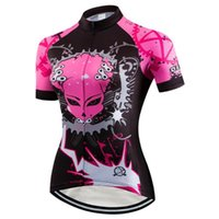 Wholesale team pink clothing resale online - Women s Cycling Jersey Summer Short Sleeve Bike Jersey Mountain road Pink Skull MTB Bike Team Cycling Clothing Bicycle shirt Top