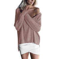 зимние свитера для свитера для женщин оптовых-Autunm Winter Women Sweaters Pullovers Casual Loose Knitted Sweater Women Tricot Pullover Jumpers Mujer Sexy Sweater