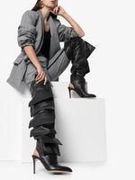 bot cepleri toptan satış-Tasarımcılar Moda Birçok Cepler Kış Çizmeler Kadın Sivri Burun Slingbacks Yüksek Topuklu Botas Mujer Bayan Ayakkabı Üzerinde Kayma Kadın