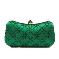 noite chinesa bolsas venda por atacado-Bolsa de Ombro Mulheres de noite de cristal Flor de embreagem dupla moedas chinesas Numismática verde esmeralda bolsa da festa de casamento da bolsa