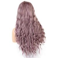 kıvırcık peruk fiyatları toptan satış-Fabrika fiyat 1 adet Kadınlar Moda Lady Mor Uzun Kıvırcık Saç Cosplay Parti Peruk 60 cm Peruk Tabanlı Doğal Stoklanan Standı