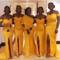 fenda de vestido de sereia amarela venda por atacado-Chique Plus Size 2019 Vestidos de Dama de Honra Amarelo Sexy Slit fora do Ombro Sereia Vestidos de Festa de Casamento Africano Custom Made Vestidos de Noite
