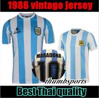 maillot sin mangas al por mayor-10 DHL gratis! 1978 1986 Argentina Maradona camiseta de fútbol local Versión 86. 78 Maradona Messi CANIGGIA Camiseta de fútbol de calidad Batistuta