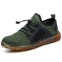 zapatos de seguridad al aire libre al por mayor-XZMDH Dropshipping Hombres y mujeres Botas de seguridad para el aire con punta de acero Zapatos Zapatillas de deporte a prueba de pinchazos Zapatos de hombre transpirables al aire libre