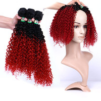 Wholesale synthetic afro kinky weave online - Loose Kinky Curly Bulks Ombre Color Ladies Fashion Afro Dreadlocks Sizes Top Synthetic Weave Bundles Popular Hair Extension