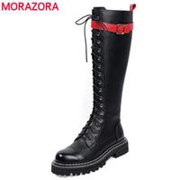Wholesale footwear for women resale online - MORAZORA New genuine leather boots women punk combat platform boots ladies footwear autumn winter knee high for women
