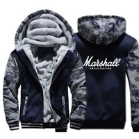 ingrosso cappotti uomo kpop-Dopshipping Marshall Jacket Men Punk Rock Sweatshirt Kpop Cappotto invernale spessa pile Warm Zip up Camouflage Felpa con cappuccio USA Taglia
